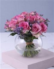 Pink Petals In Vase Gift