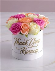 Personalised Thanking You Mixed Flowers Hat Box