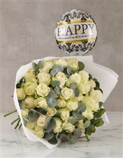 White Roses with Happy Anniversary Balloon