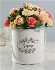 Pastel Floral Mix White Hat Box Surprise