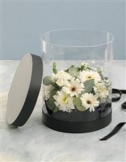 Mixed White Thank You Flowers in Clear Case