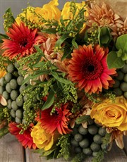 Mixed Yellow and Orange Flower Gift Hamper