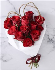 Red Roses In White Wrapping