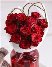 Radiant Red Roses With Brown Teddy Bear