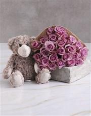 Lilac Roses With Teddy Bear