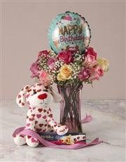 Puppy Love Happy Birthday Arrangement