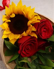 Red Rose and Sunshine Bouquet