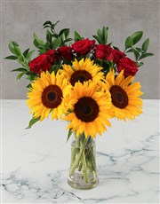 Sunflowers and Red Roses in Glass Vase