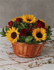 Cheerful Sunflowers and Roses in Wooden Basket
