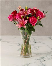 Pink Lilies and Red Roses Arrangement