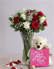 White and Red Rose Regal Gift