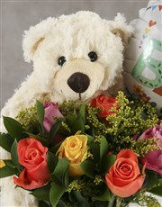 Mixed Roses and Choc New Baby Gift
