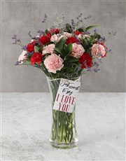 Pink And red Pleasures Carnation Arrangement