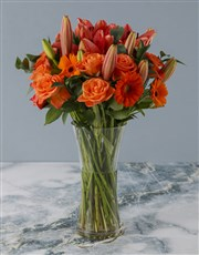Glorious Red and Orange Blossom Bunch