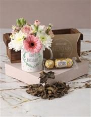 Polished Pastels Happy Birthday Mug Arrangement