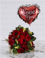 Romantic Red Blooms With A Balloon