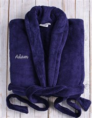 A Personalised Dark Blue Fleece Gown- Large and XL