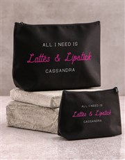 Personalised Latte And Lipstick Cosmetic Bag