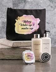 Personalised Wake Up Makeup Black Cosmetic Hamper