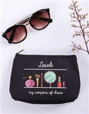 Personalised Weapons Of Choice Black Cosmetic Bag