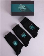 Personalised 3 Pair Birthday Socks Box
