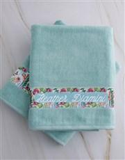 Personalised Botanical Duck Egg Towel Set