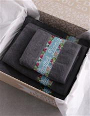 Personalised Botanical Charcoal Towel Set