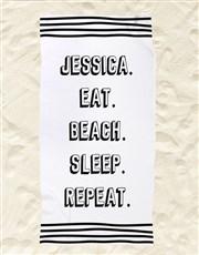 Personalised Repeat Routine Beach Towel