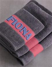 Personalised Bold Print Charcoal Towel Set
