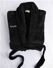 Personalised Black Fleece Gown and Slipper Set