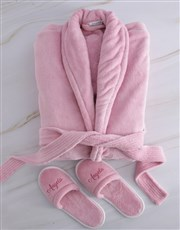 Personalised Pink Glitter Gown and Slipper Set