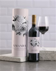 Personalised Elegant Floral Wine And Tube Gift
