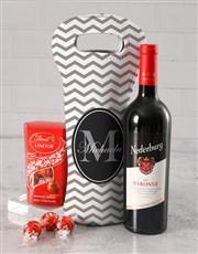 Personalised Grey Chevron Wine Carrier