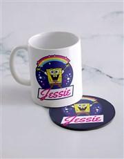 Personalised Rainbow Bubbles Mug And Coaster