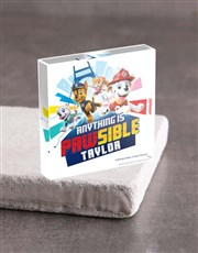 Personalised Paw Patrol Acrylic Block