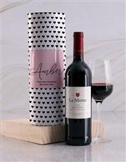 Personalised Black Hearts Wine Tube