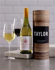 Personalised Wood Grain Wine Tube