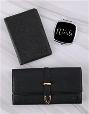 Personalised Black Purse with Passport Holder