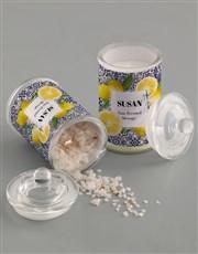 Personalised Lemon Tile Candle Jar