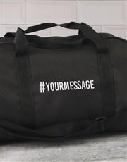 Personalised Hashtag Black Gym Bag