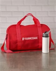 Personalised Hashtag Red Gym Bag