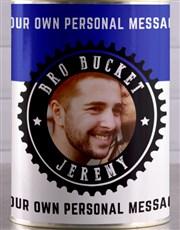 Personalised Blue Photo Bro Bucket Hamper