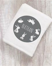 Personalised Hoppy Bunny Baby Blanket