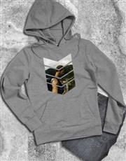 Personalised Pattern Photo Grey Hoodie