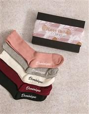 Personalised Pink Pattern Frills Sock Pack