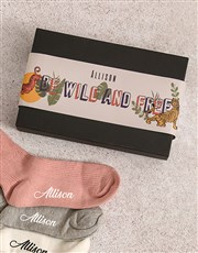 Personalised Be Wild Frills Sock Pack