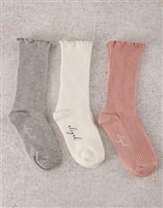 Personalised Leaf Name Frills Sock Pack