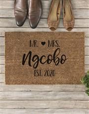 Personalised Cute Couples Doormat