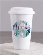 Personalised Leaves Travel Mug