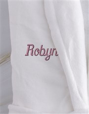 Personalised Ladies White And Pink Fleece Gown
